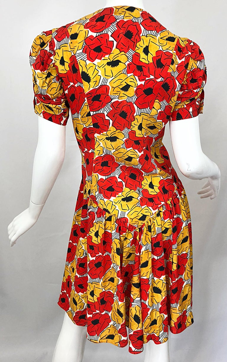 Yves Saint Laurent YSL Size 42 / 10 Yellow + Red Poppy Print Drop Waist Dress For Sale 7