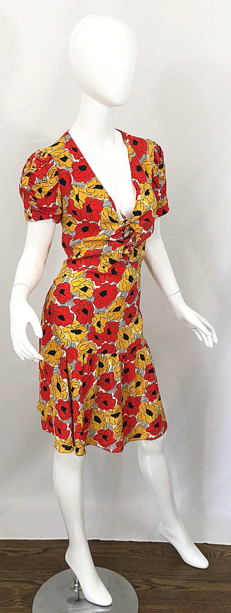 Yves Saint Laurent YSL Size 42 / 10 Yellow + Red Poppy Print Drop Waist Dress For Sale 8