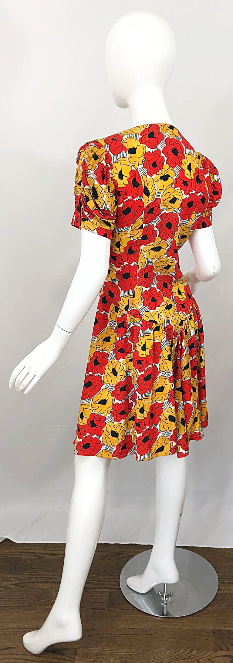 Yves Saint Laurent YSL Size 42 / 10 Yellow + Red Poppy Print Drop Waist Dress For Sale 9