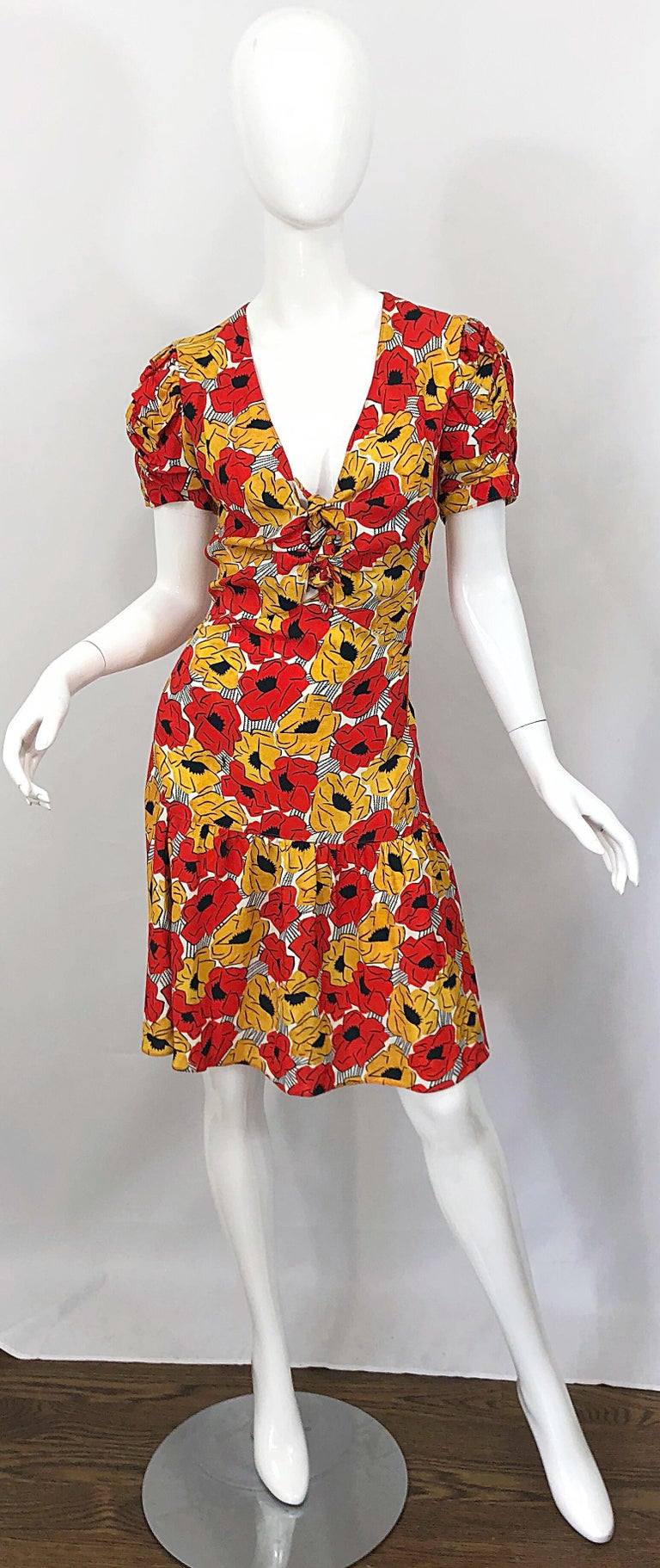 Yves Saint Laurent YSL Size 42 / 10 Yellow + Red Poppy Print Drop Waist Dress For Sale 10