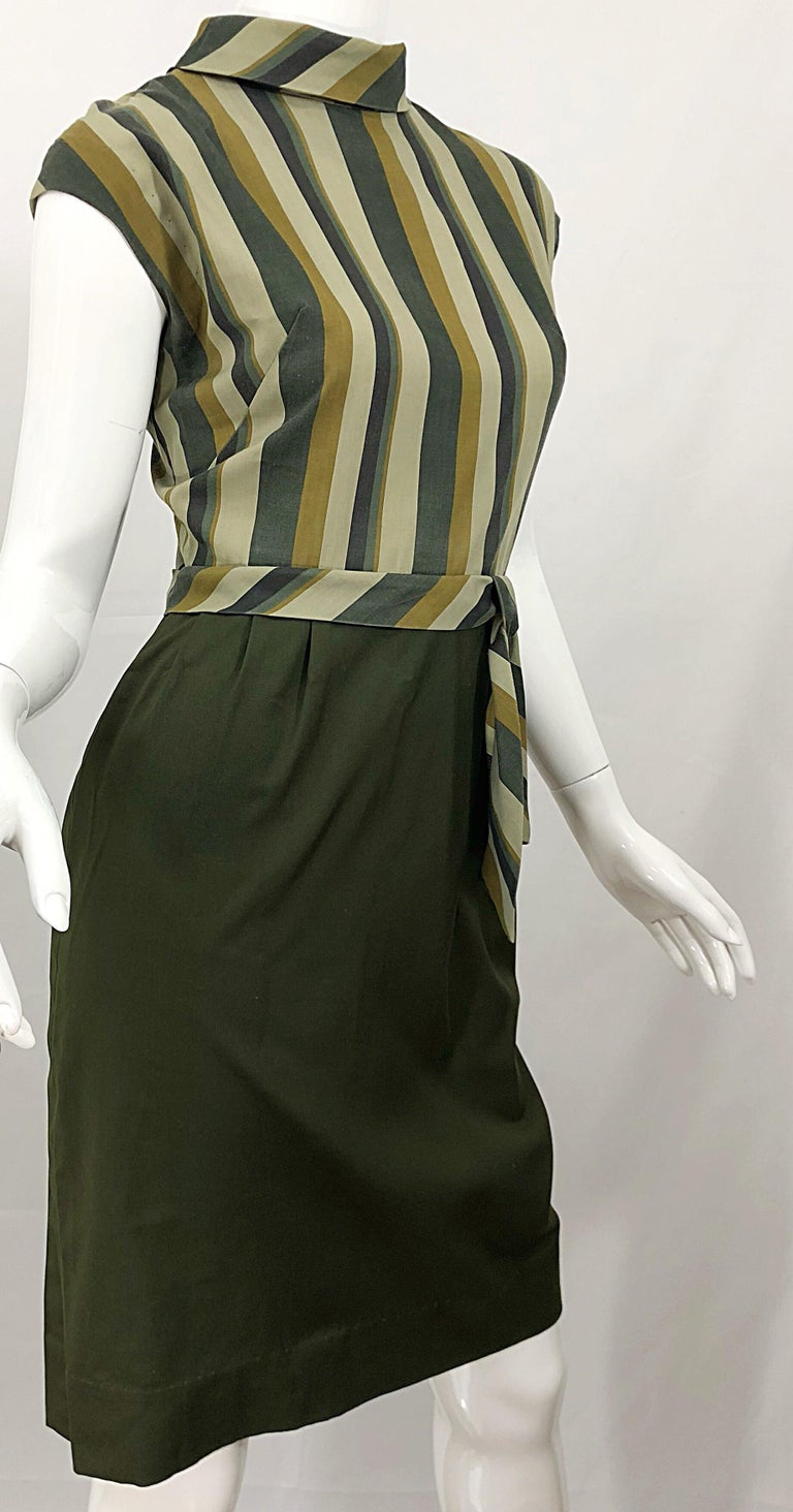 1950s Chic Chartreuse Olive Green Cotton Striped Cap