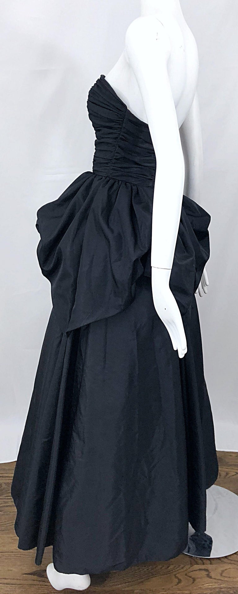 6538b34f917d Women's Vintage Mike Benet Size 0 1980s Black Strapless Rhinestone  Strapless Bustle Gown For Sale