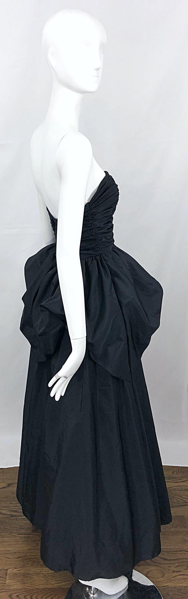 27ae57199785 Vintage Mike Benet Size 0 1980s Black Strapless Rhinestone Strapless Bustle  Gown For Sale 8