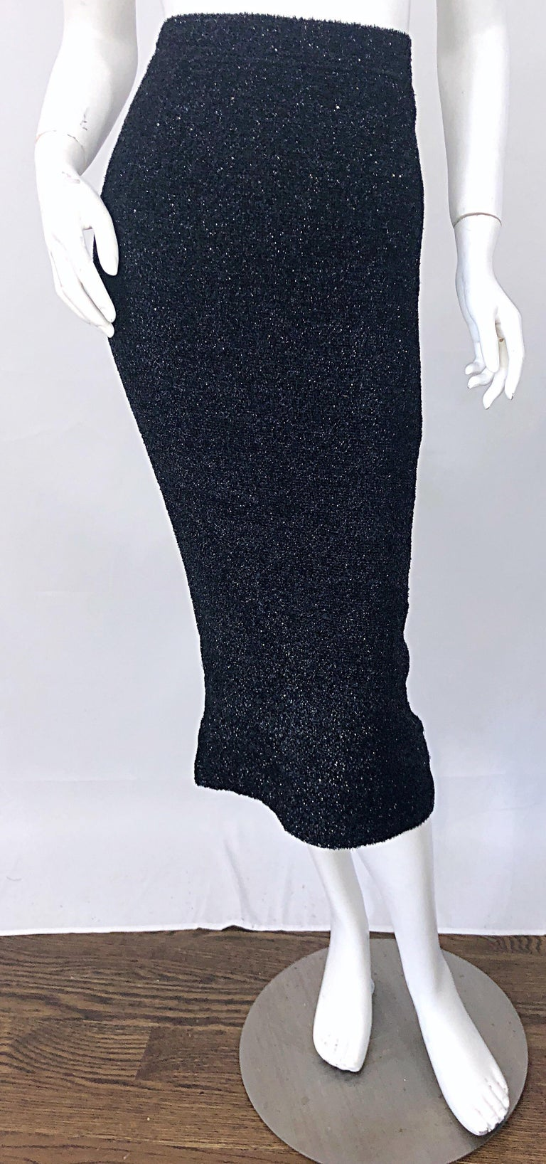 Sleek tailored vintage 1990s CHRISTIAN LACROIX black silk metallic eyelash lurex high waisted midi pencil skirt! The perfect black skirt that really adds that little extra to any outfit. High waist fit with a for fitting body. Hidden zipper up the