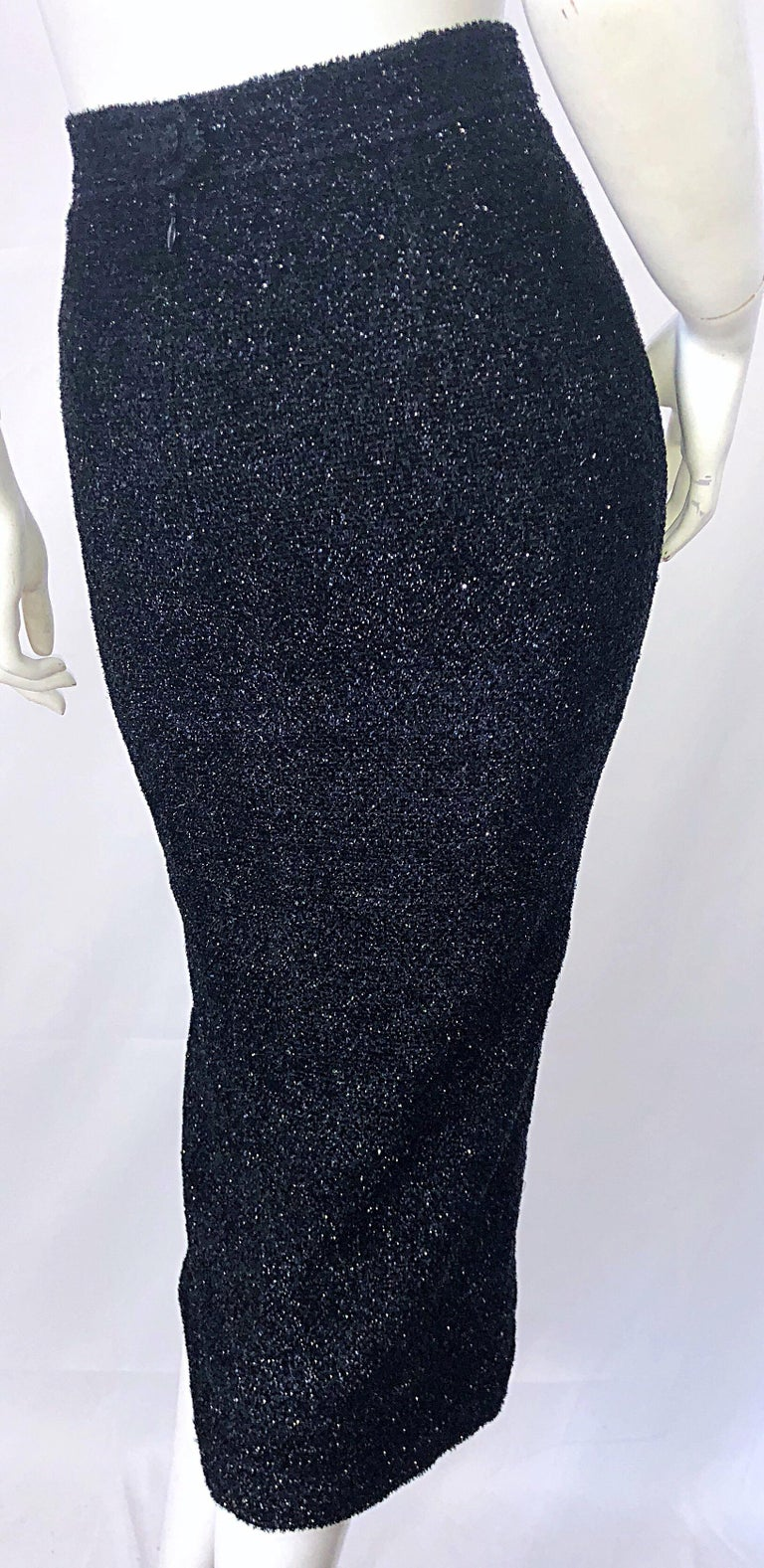 Vintage Christian Lacroix Sz 10 / 12 Black Silk Lurex High Waist 90s Midi Skirt In Excellent Condition For Sale In Chicago, IL