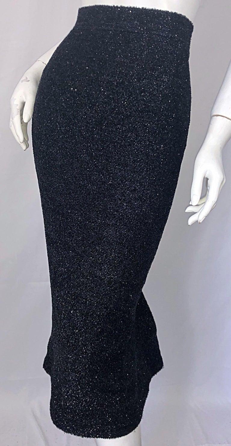 Women's Vintage Christian Lacroix Sz 10 / 12 Black Silk Lurex High Waist 90s Midi Skirt For Sale