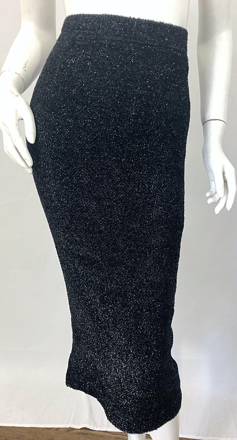 Vintage Christian Lacroix Sz 10 / 12 Black Silk Lurex High Waist 90s Midi Skirt For Sale 1