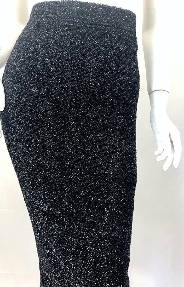 Vintage Christian Lacroix Sz 10 / 12 Black Silk Lurex High Waist 90s Midi Skirt For Sale 2