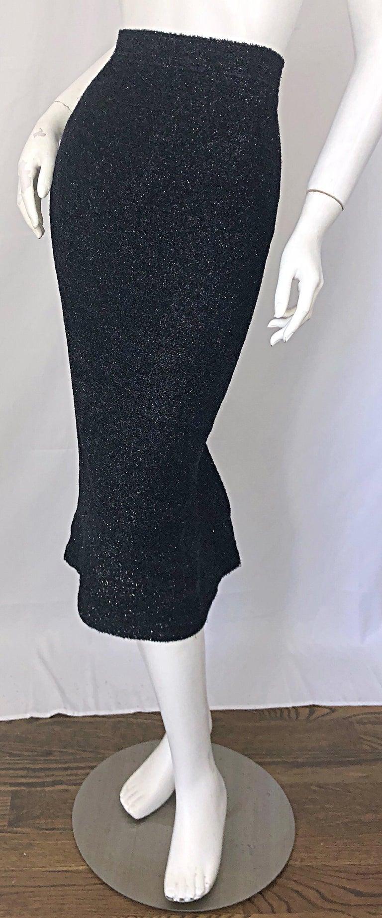 Vintage Christian Lacroix Sz 10 / 12 Black Silk Lurex High Waist 90s Midi Skirt For Sale 4