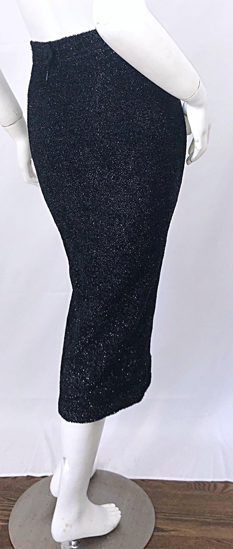 Vintage Christian Lacroix Sz 10 / 12 Black Silk Lurex High Waist 90s Midi Skirt For Sale 5