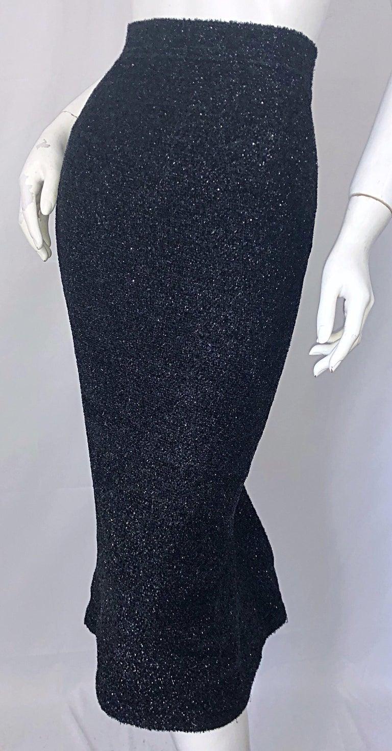 Vintage Christian Lacroix Sz 10 / 12 Black Silk Lurex High Waist 90s Midi Skirt For Sale 6