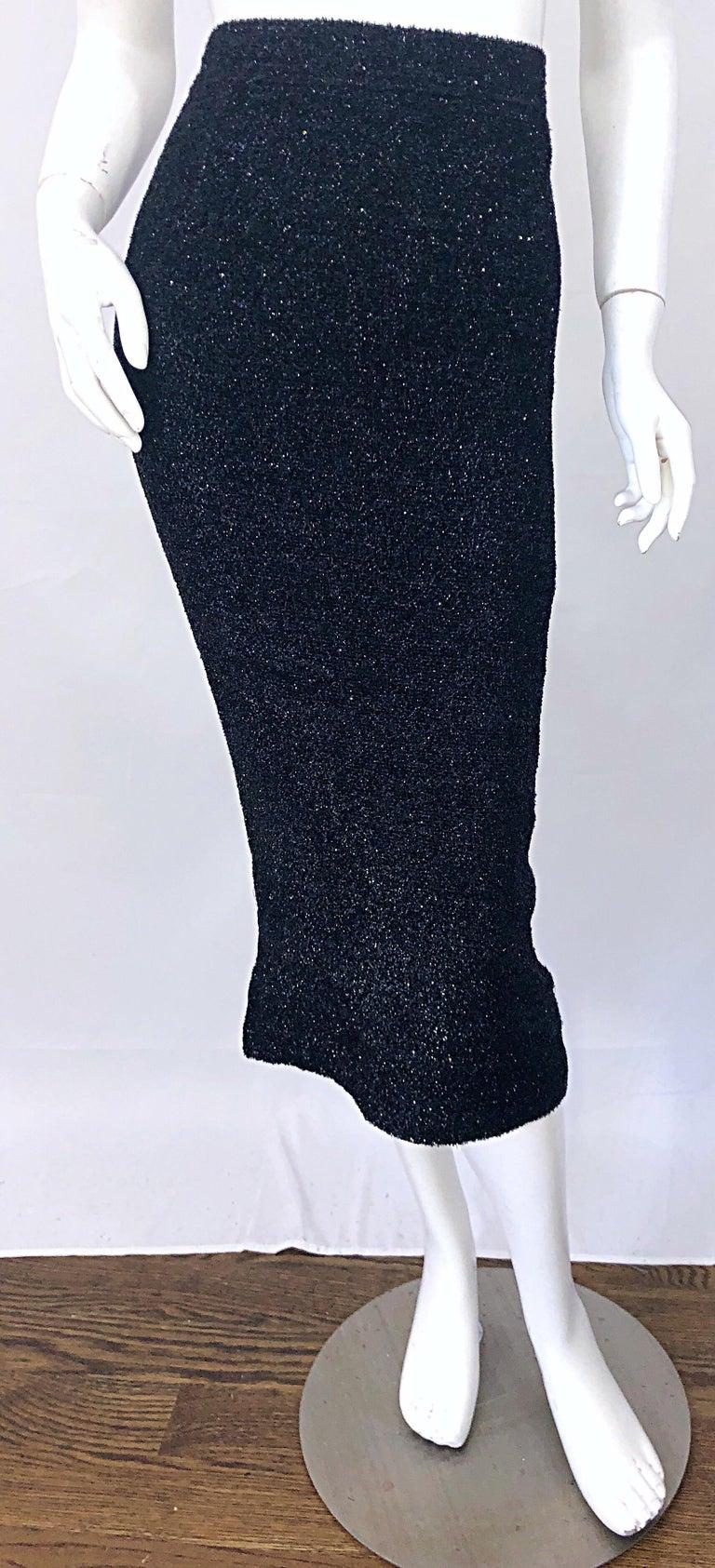 Vintage Christian Lacroix Sz 10 / 12 Black Silk Lurex High Waist 90s Midi Skirt For Sale 7