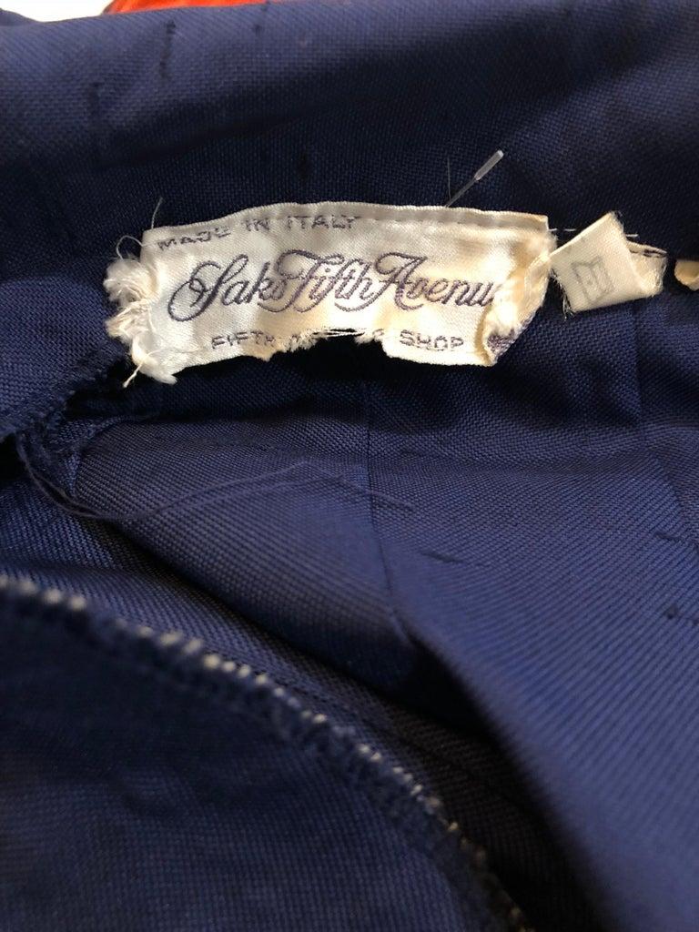 1990s Saks 5th Avenue Size 10 Navy Blue Silk Vintage 90s Sleeveless Shirt Dress For Sale 13