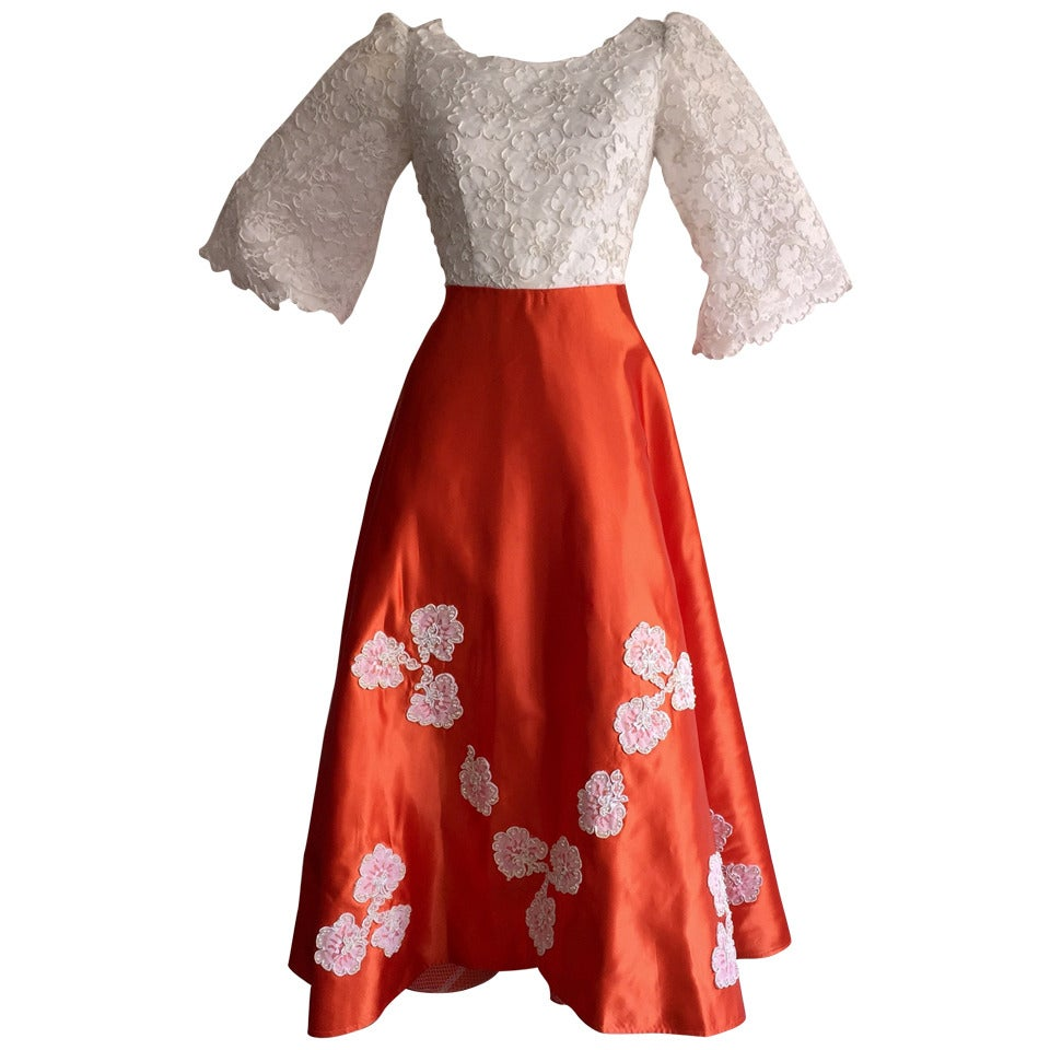Gorgeous 1960s Orange Satin + White Lace Bell Sleeve Embellished Custom Dress For Sale