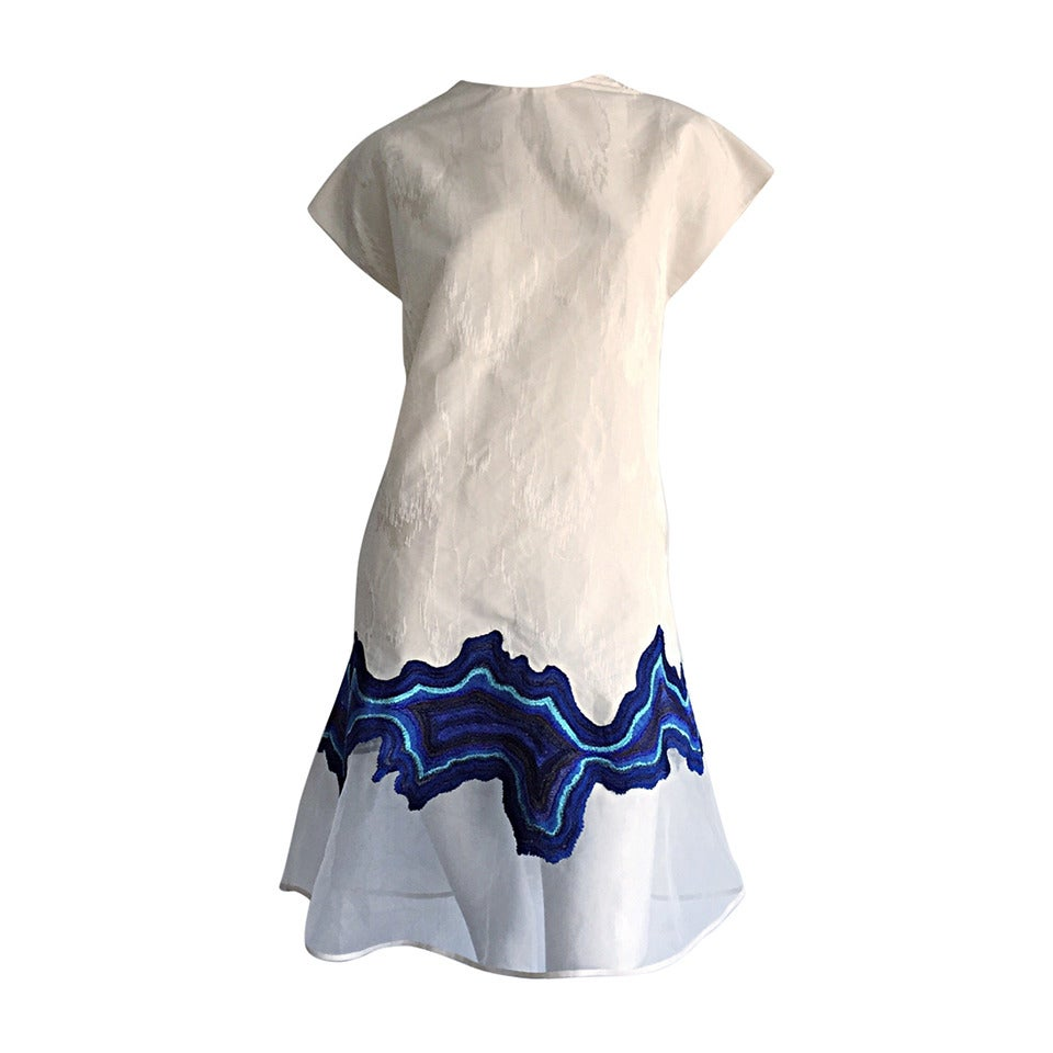Beautiful Philip Lim Ivory Moire A - Line Embroidered 1960s Style Scooter Dress For Sale