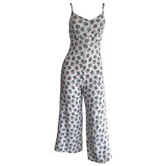 1990s 90s Vintage Betsey Johnson Floral Silk Culottes Romper Jumpsuit / Playsuit