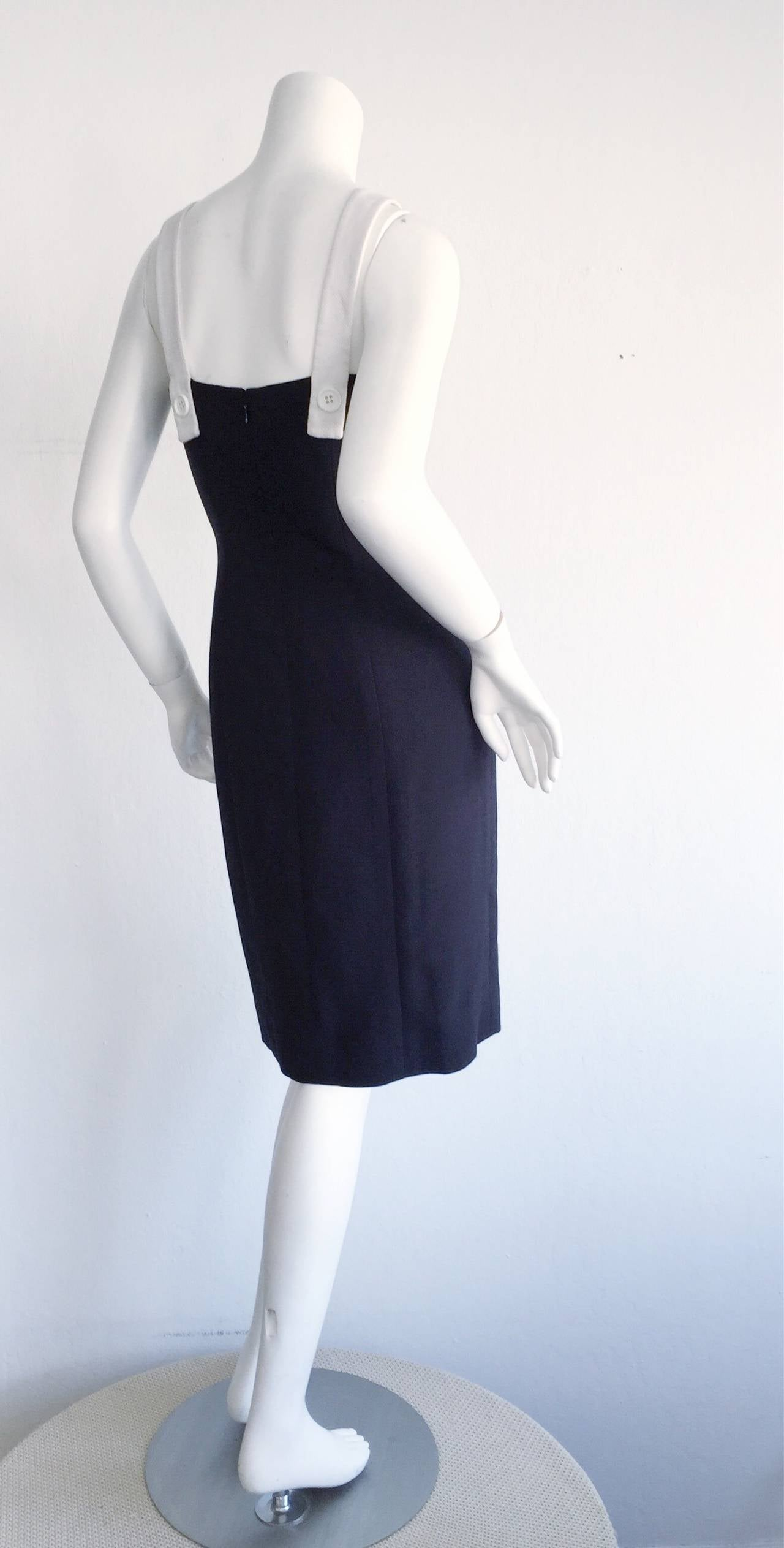 1990s Vintage Oscar de la Renta Navy Blue + White Nautical Bow Dress 3