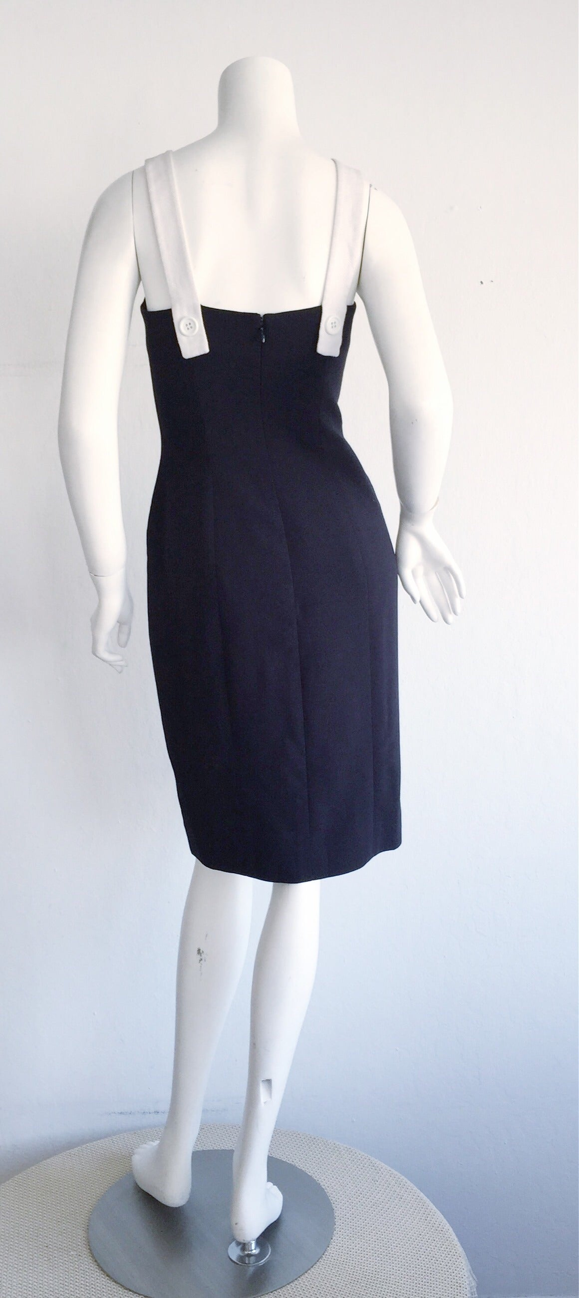 1990s Vintage Oscar de la Renta Navy Blue + White Nautical Bow Dress 8