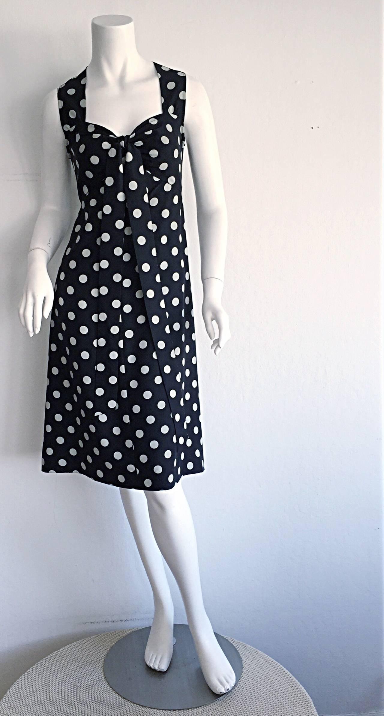 1980s Saint Laurent Rive Gauche  Navy Blue & White Polka Dot Babydoll Bow Dress 3