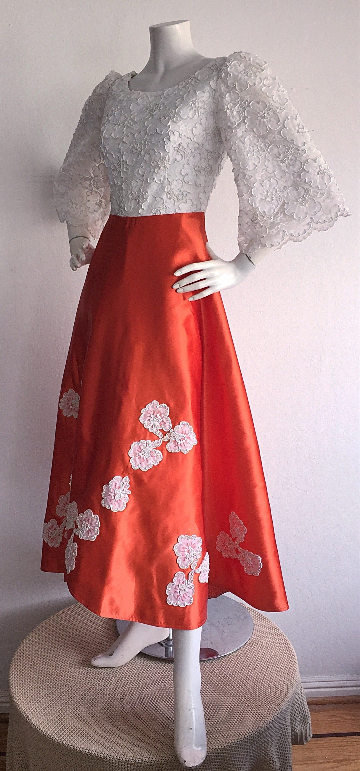 Red Gorgeous 1960s Orange Satin + White Lace Bell Sleeve Embellished Custom Dress For Sale