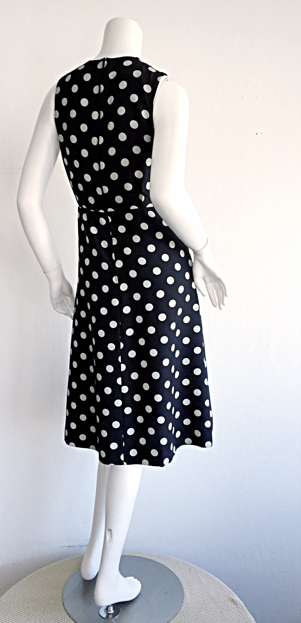 1980s Saint Laurent Rive Gauche  Navy Blue & White Polka Dot Babydoll Bow Dress 5