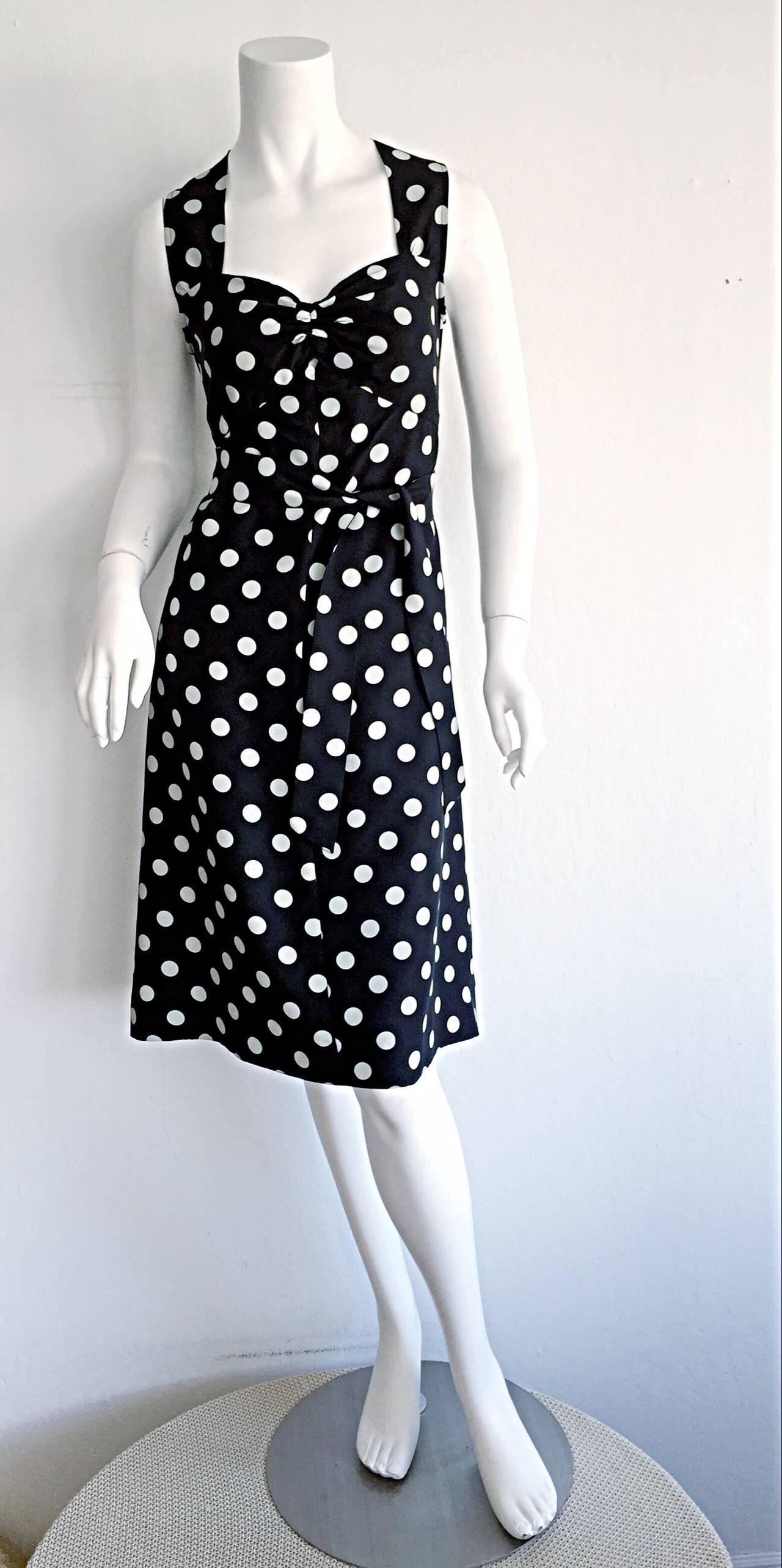 1980s Saint Laurent Rive Gauche  Navy Blue & White Polka Dot Babydoll Bow Dress 6