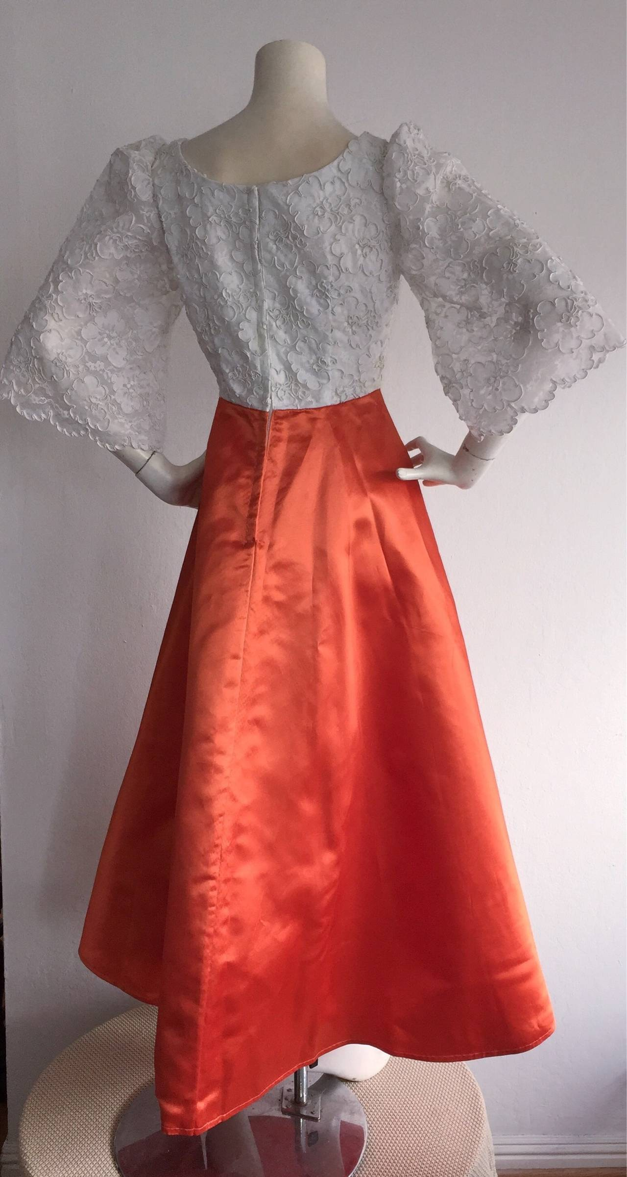 Gorgeous 1960s Orange Satin + White Lace Bell Sleeve Embellished Custom Dress In Excellent Condition For Sale In San Francisco, CA