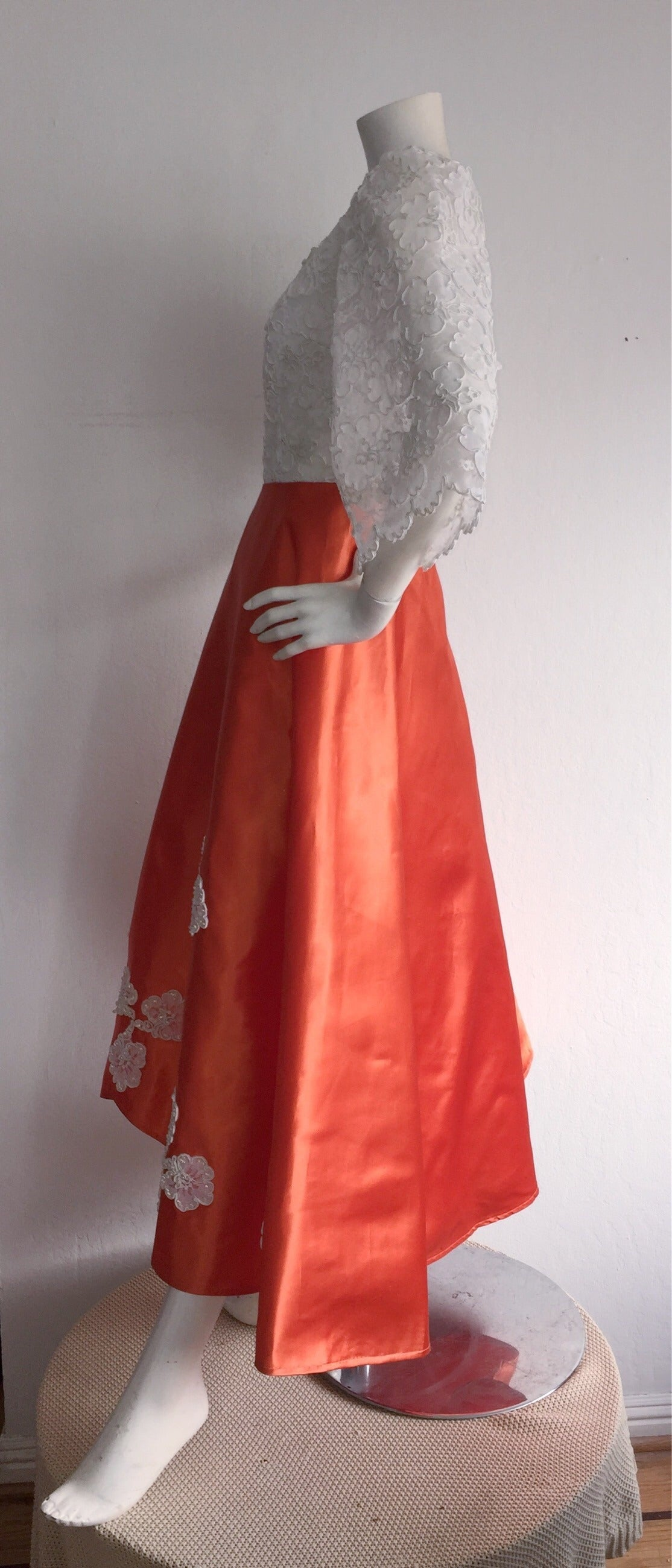 Women's Gorgeous 1960s Orange Satin + White Lace Bell Sleeve Embellished Custom Dress For Sale