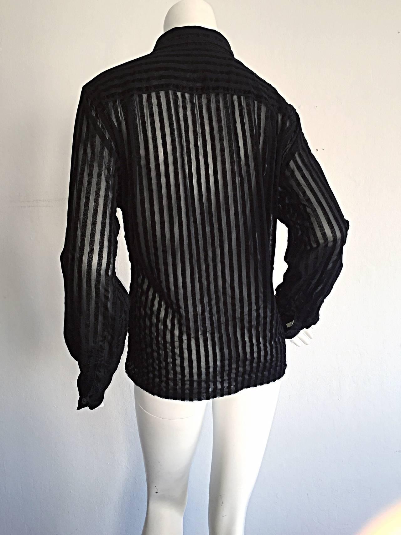 1990s vintage comme des gar ons black and sheer striped sheared shirt at 1stdibs. Black Bedroom Furniture Sets. Home Design Ideas