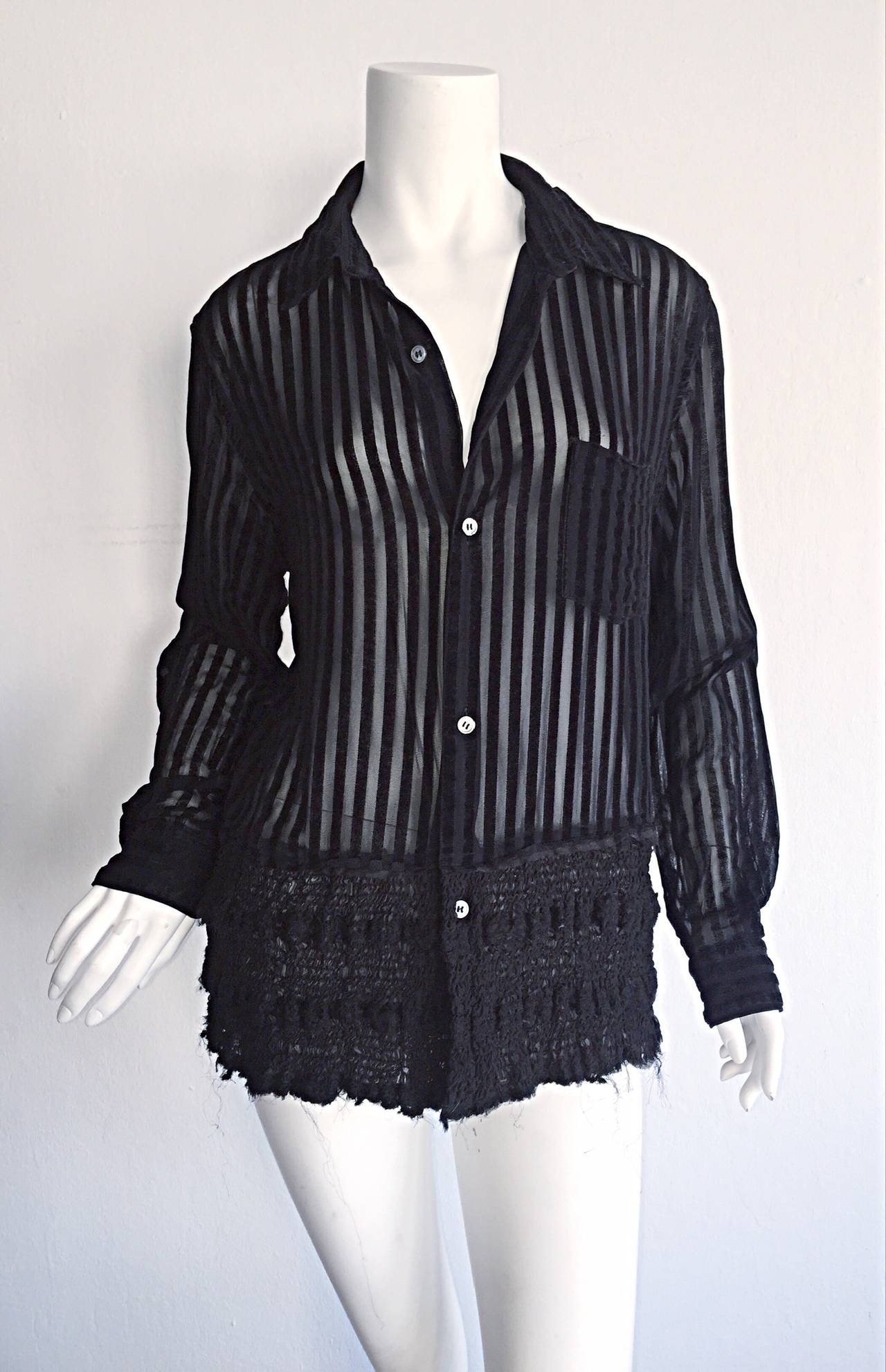 1990s vintage comme des gar ons black and sheer striped sheared shirt for sale at 1stdibs. Black Bedroom Furniture Sets. Home Design Ideas