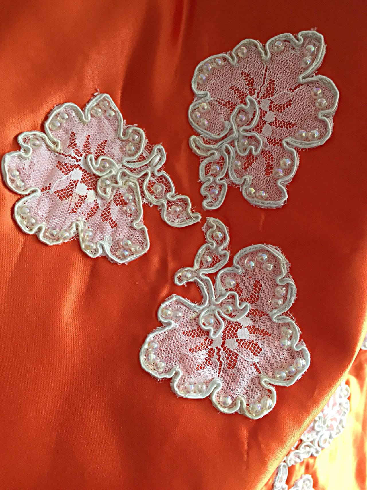 Gorgeous 1960s Orange Satin + White Lace Bell Sleeve Embellished Custom Dress For Sale 1