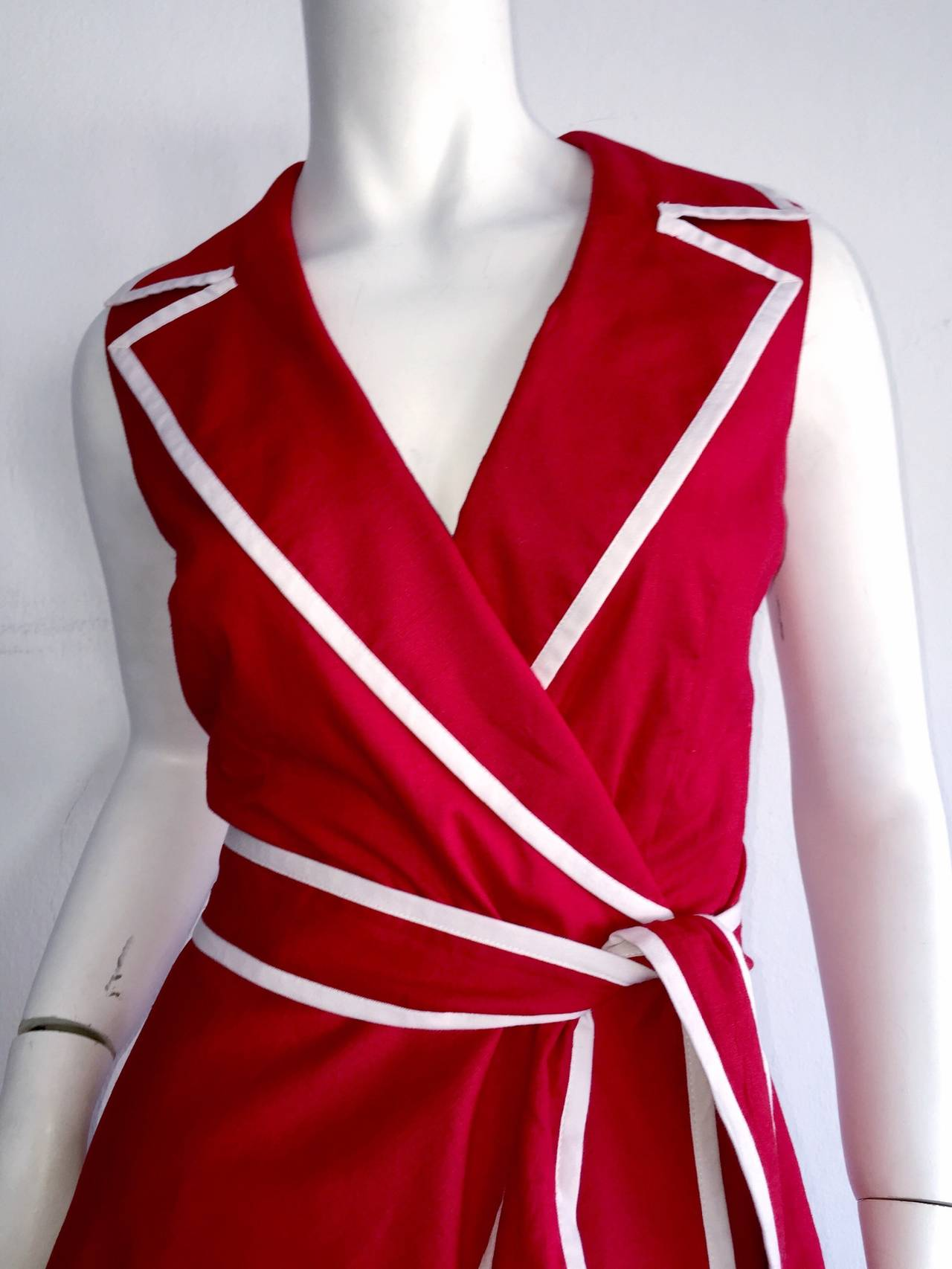 Women's Sweet 90s Vintage Neiman Marcus Red 50s Rockabilly Inspired Nautical Shirt Dress For Sale