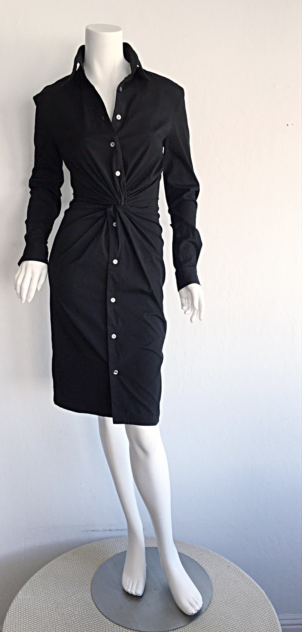 Ultimate Michael Kors Collection Black ' Twisted ' Shirt Dress LBD Size 2 2