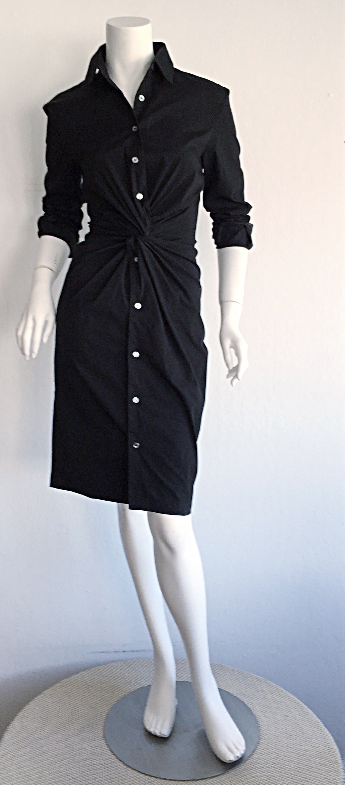 Ultimate Michael Kors Collection Black ' Twisted ' Shirt Dress LBD Size 2 3