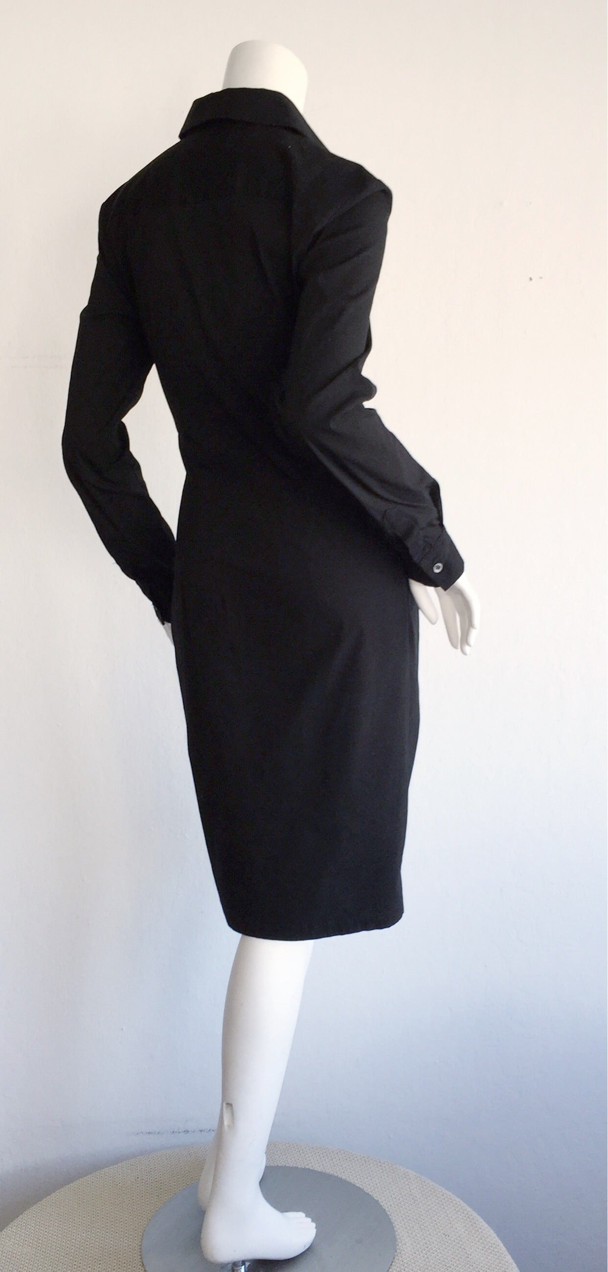Ultimate Michael Kors Collection Black ' Twisted ' Shirt Dress LBD Size 2 4