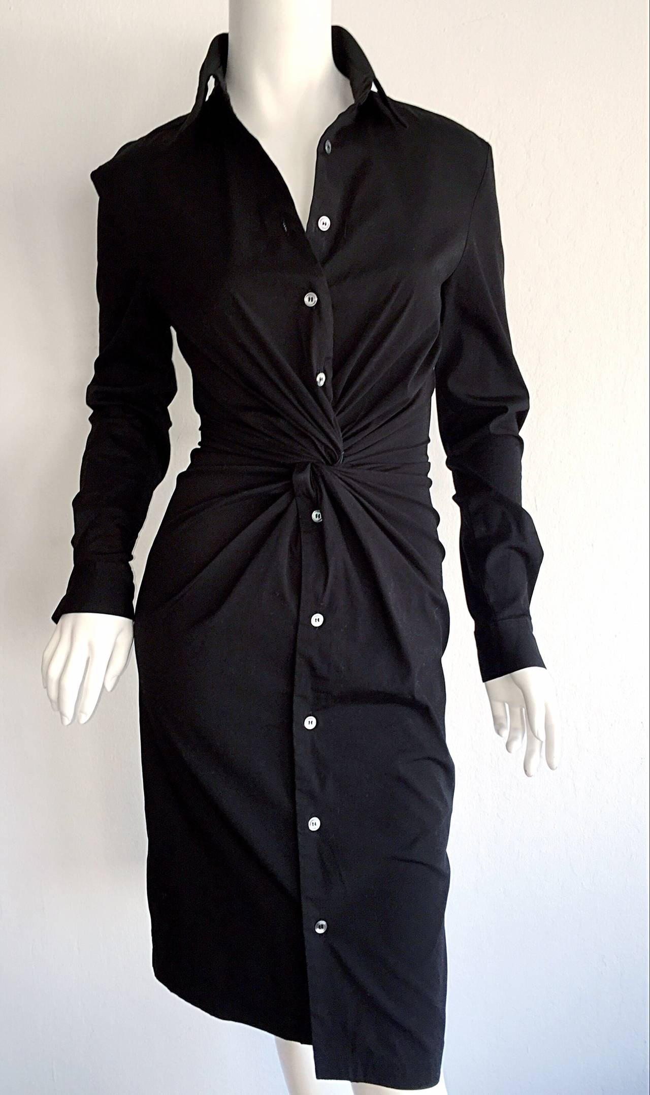 Ultimate Michael Kors Collection Black ' Twisted ' Shirt Dress LBD Size 2 5