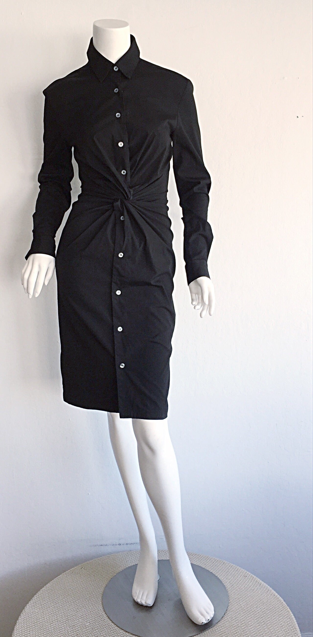 Ultimate Michael Kors Collection Black ' Twisted ' Shirt Dress LBD Size 2 6