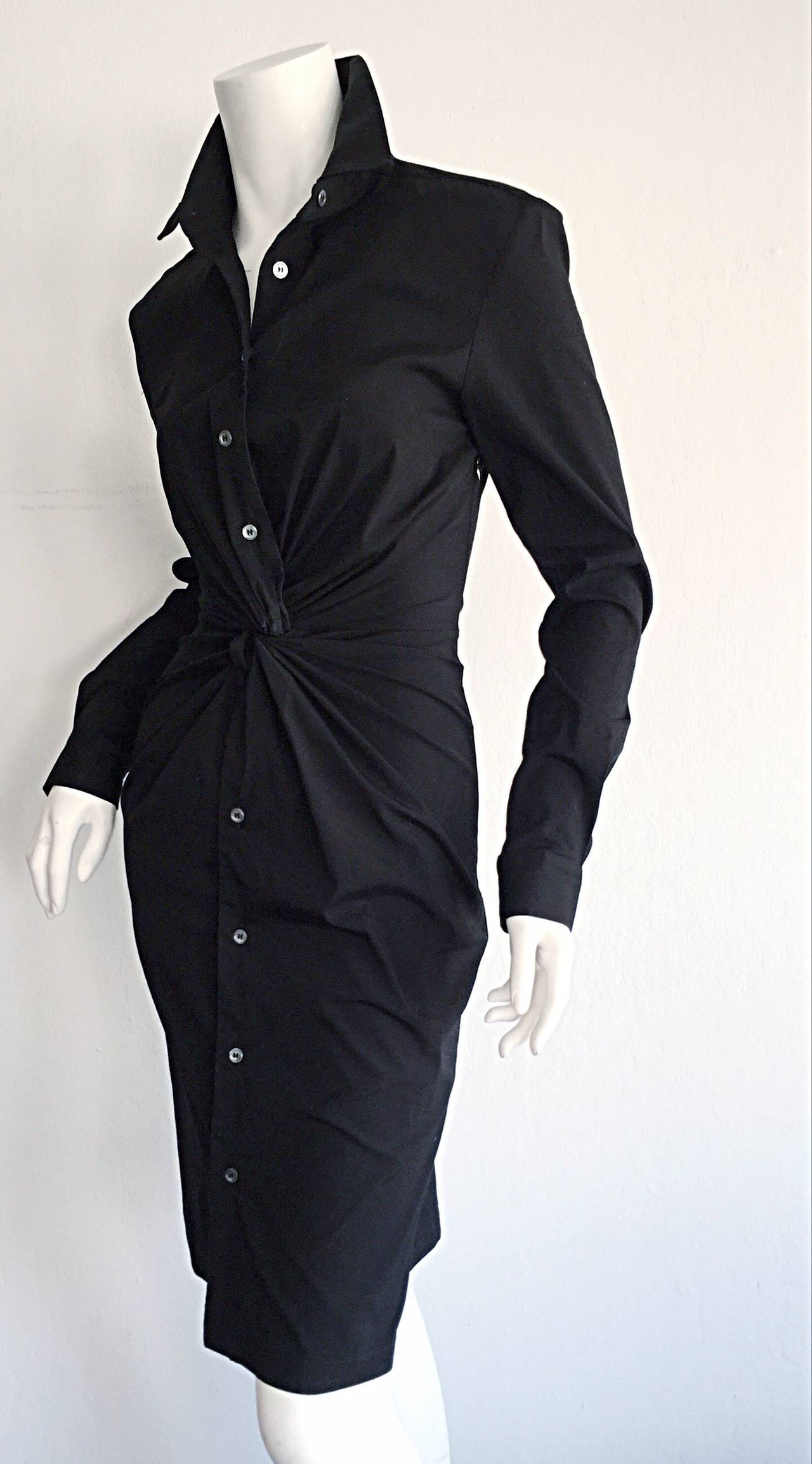Ultimate Michael Kors Collection Black ' Twisted ' Shirt Dress LBD Size 2 7