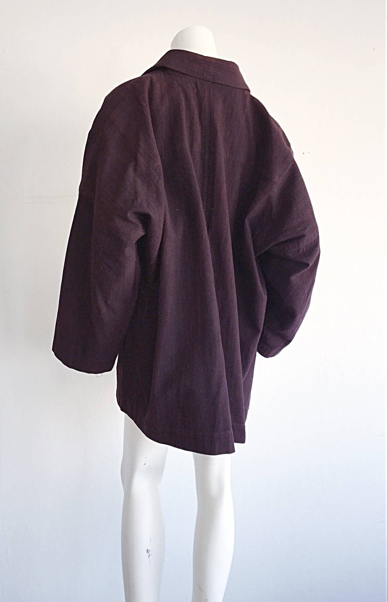 Plantation by Issey Miyake Cordovan Double Breasted Kimono Style Jacket 5