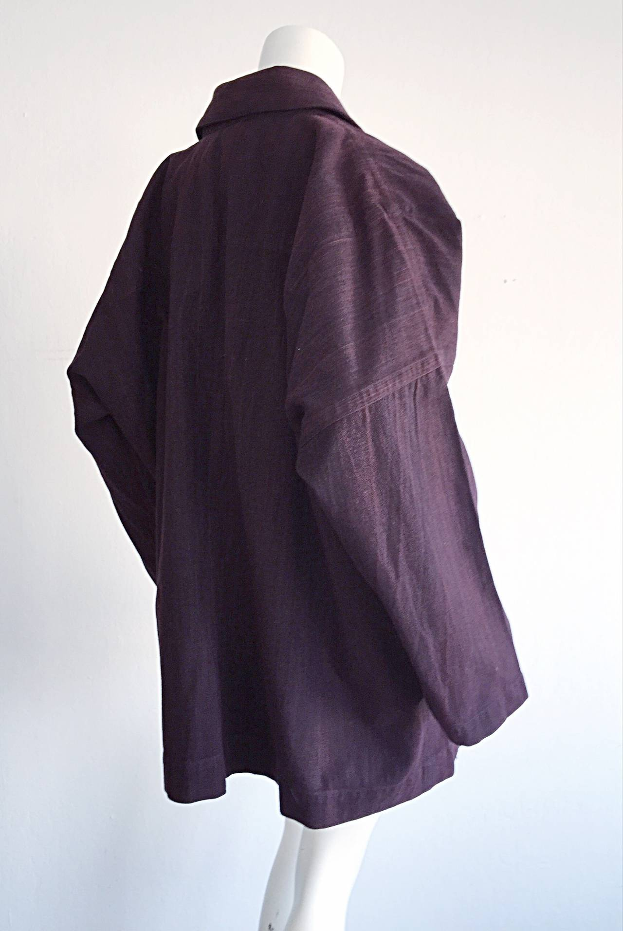 Plantation by Issey Miyake Cordovan Double Breasted Kimono Style Jacket 6