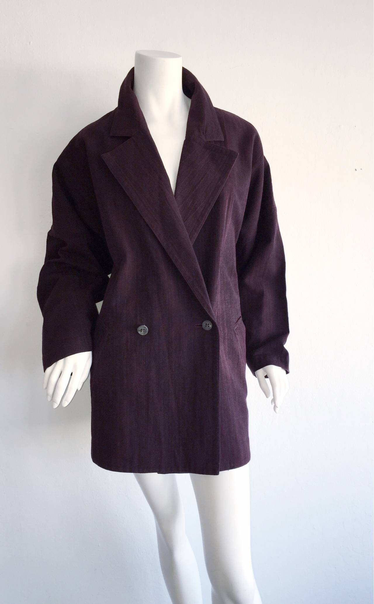 Plantation by Issey Miyake Cordovan Double Breasted Kimono Style Jacket 7