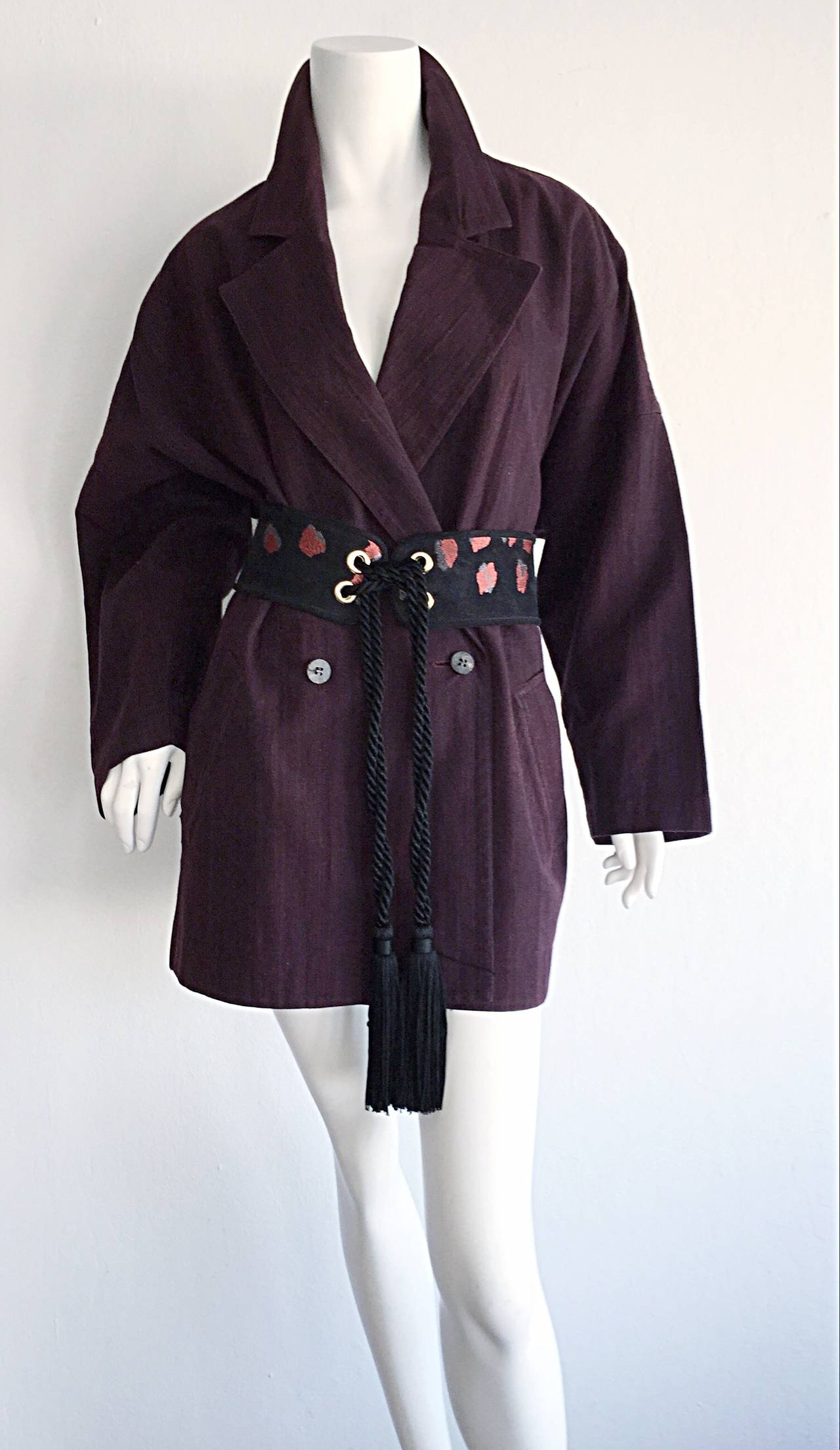 Plantation by Issey Miyake Cordovan Double Breasted Kimono Style Jacket 8