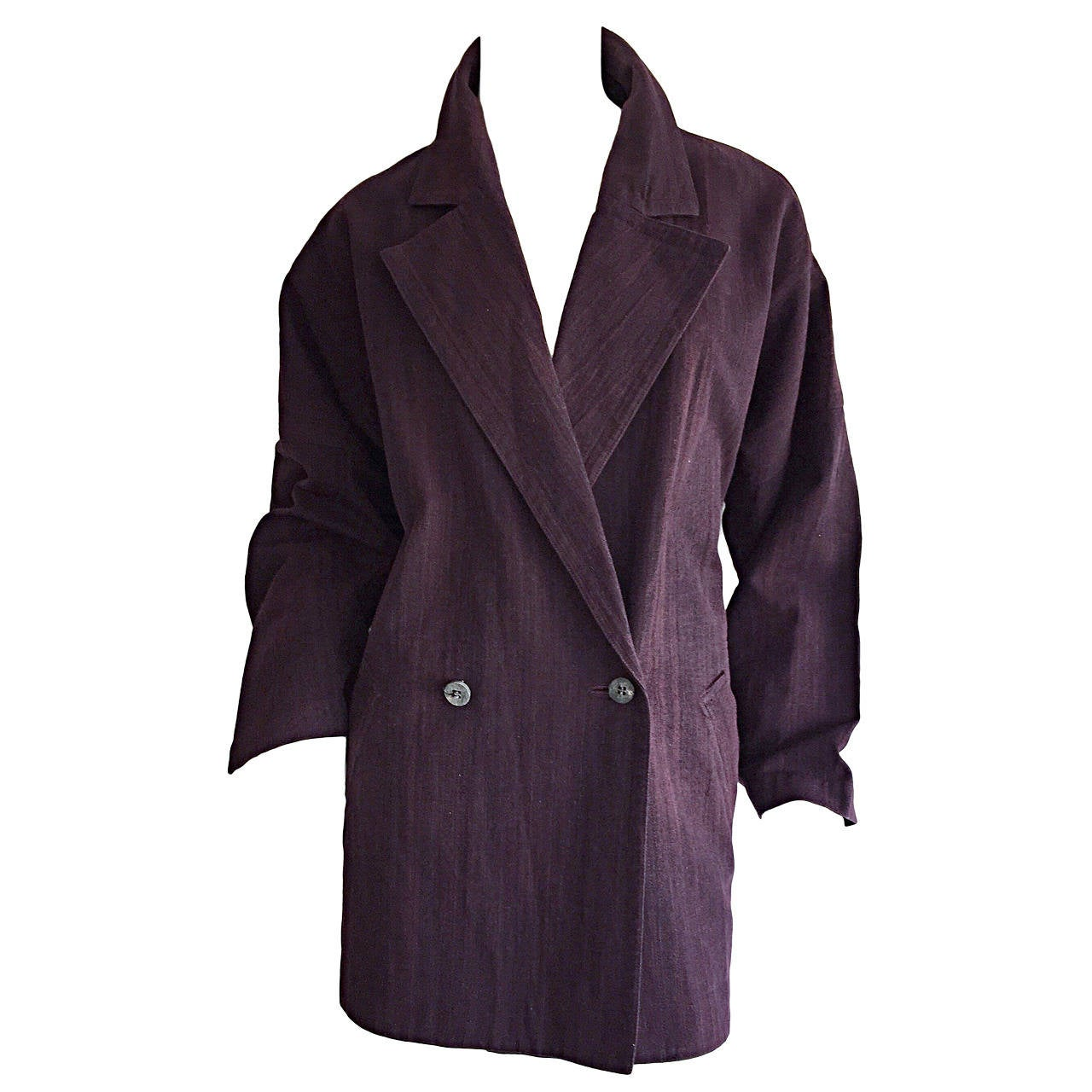 Plantation by Issey Miyake Cordovan Double Breasted Kimono Style Jacket 1