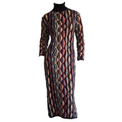 Rare Vintage Coogi Multi - Colored Mosaic Long Sleeve Fitted Sweater Dress