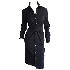 Ultimate Michael Kors Collection Black ' Twisted ' Shirt Dress LBD Size 2