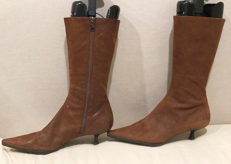 Prada Size 38.5 8.5 Brown Leather Mid Calf Kitten Heel Boots Booties 2000s  For Sale 1