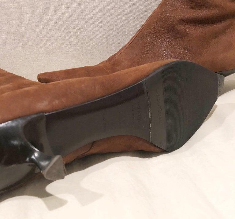 Prada Size 38.5 8.5 Brown Leather Mid Calf Kitten Heel Boots Booties 2000s  For Sale 2