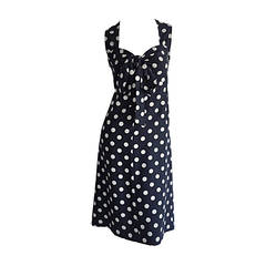 1980s Saint Laurent Rive Gauche  Navy Blue & White Polka Dot Babydoll Bow Dress