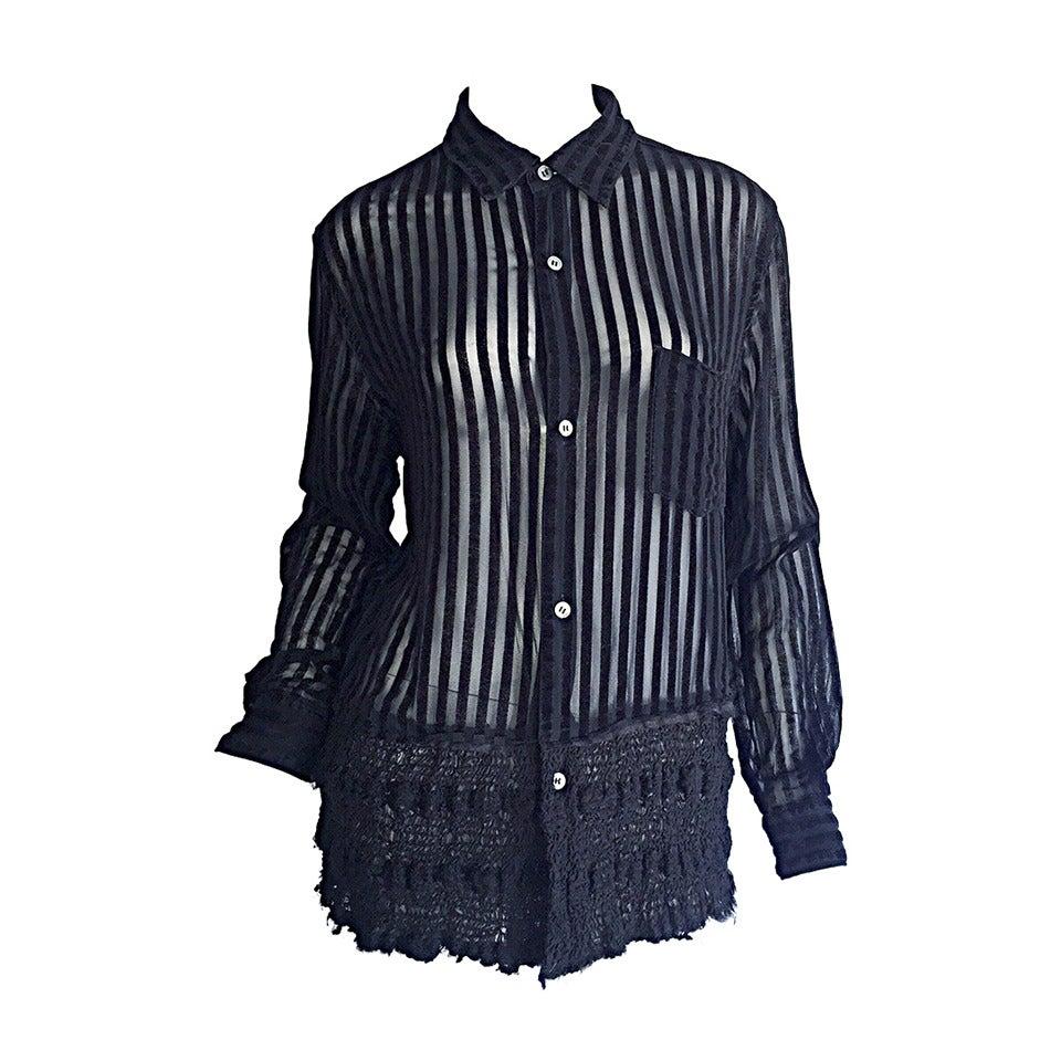 1990s Vintage Comme des Garçons Black & Sheer Striped Sheared Shirt