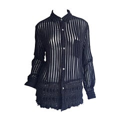 1990s Vintage Comme des Garçons Black Sheer Striped Sheared 90s Shirt